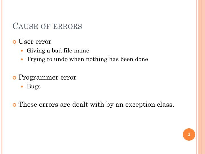 Cause of errors