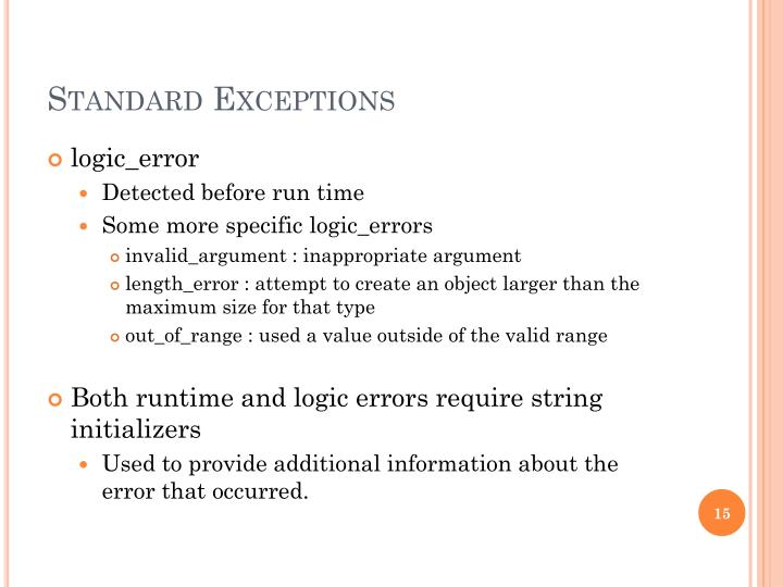 Standard Exceptions