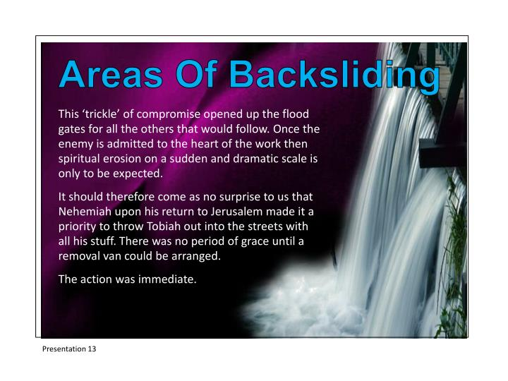 Areas Of Backsliding