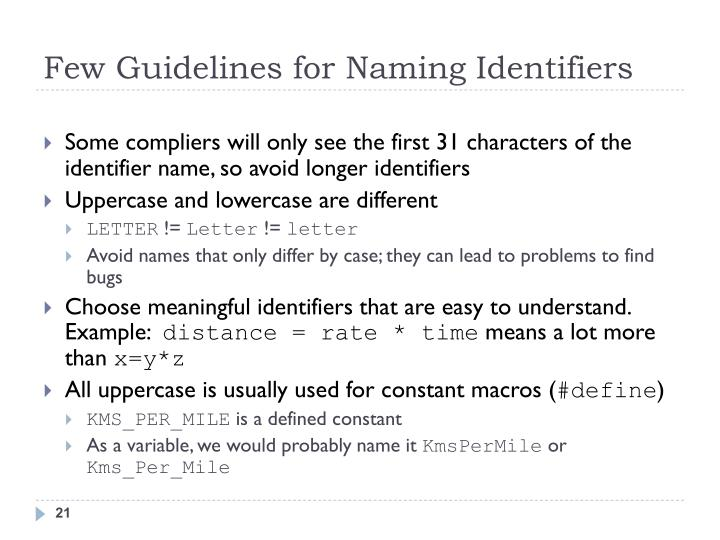 Few Guidelines for Naming Identifiers