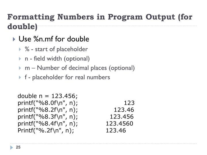Formatting Numbers in Program Output (for double)