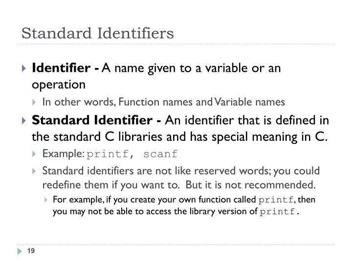 Standard Identifiers