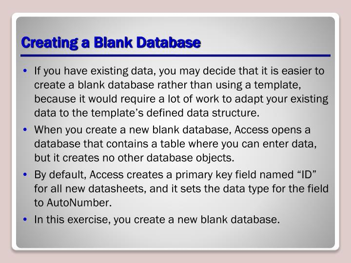 Creating a Blank Database