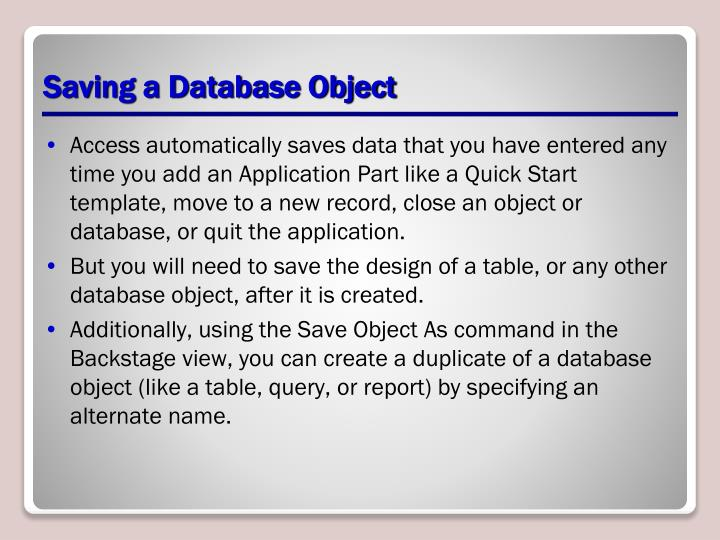 Saving a Database Object