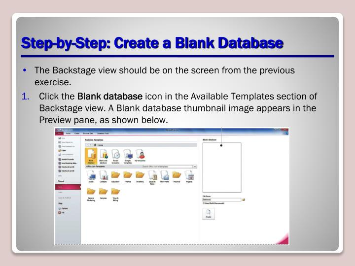 Step-by-Step: Create a Blank Database