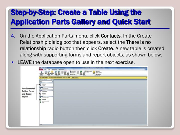 Step-by-Step: Create a Table Using the Application Parts Gallery and Quick Start