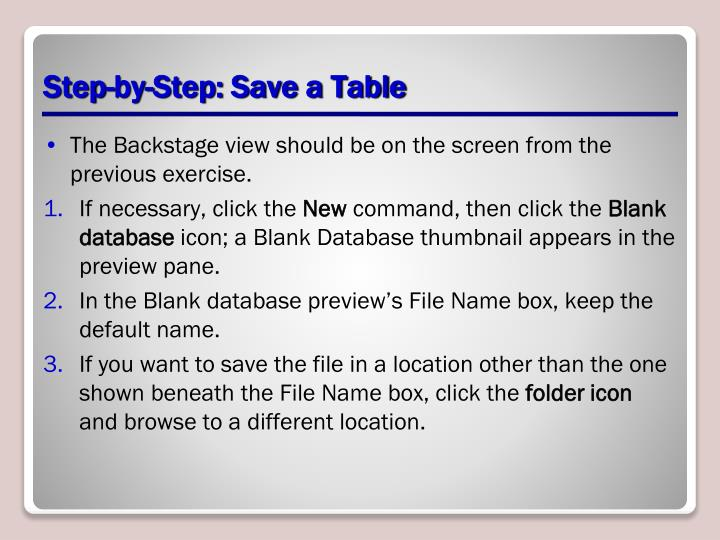 Step-by-Step: Save a Table
