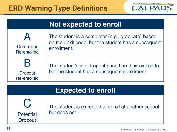 ERD Warning Type Definitions