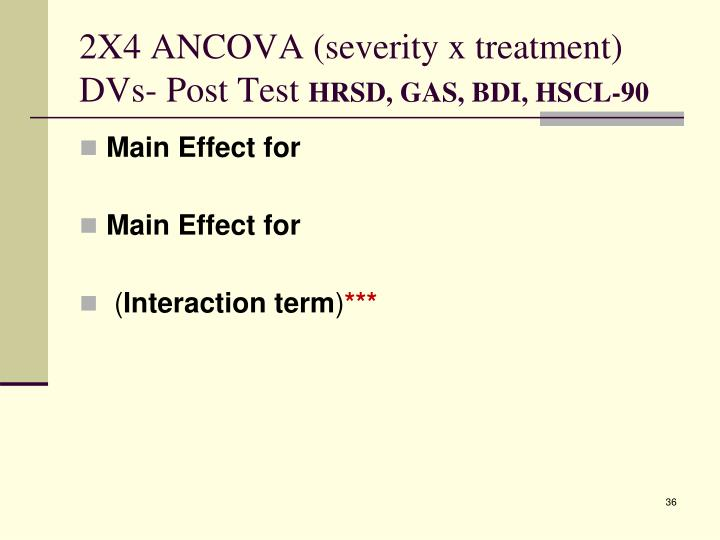 2X4 ANCOVA (severity x treatment)