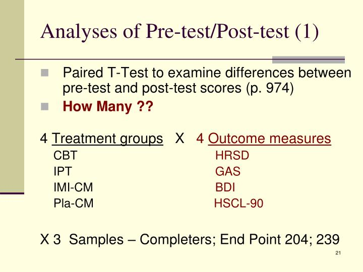 Analyses of Pre-test/Post-test (1)