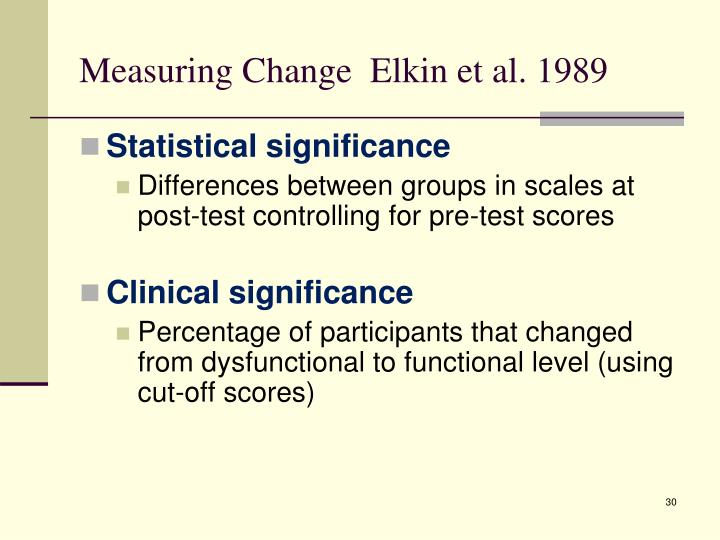 Measuring Change  Elkin et al. 1989