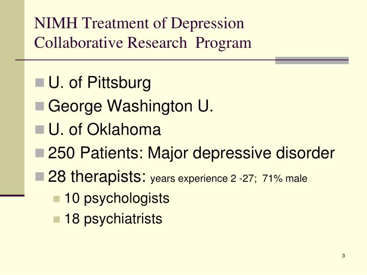Nimh treatment of depression collaborative research program