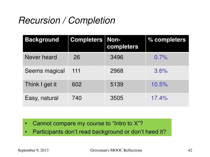Recursion / Completion