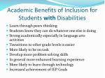 academic benefits of inclusion for students with disabilities