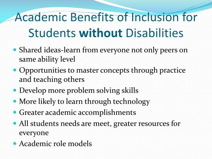 Academic Benefits of Inclusion for Students