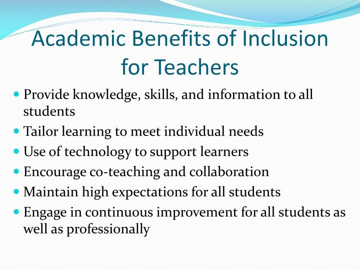Academic Benefits of Inclusion for Teachers