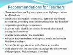 recommendations for teachers