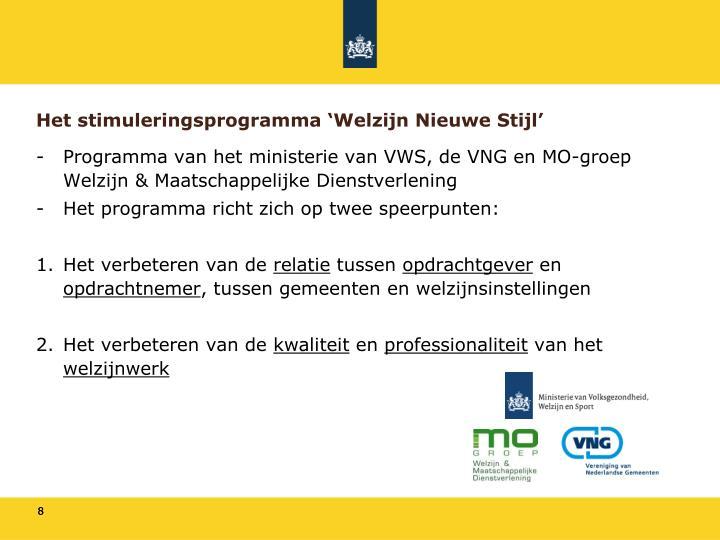 Het stimuleringsprogramma 'Welzijn Nieuwe Stijl'