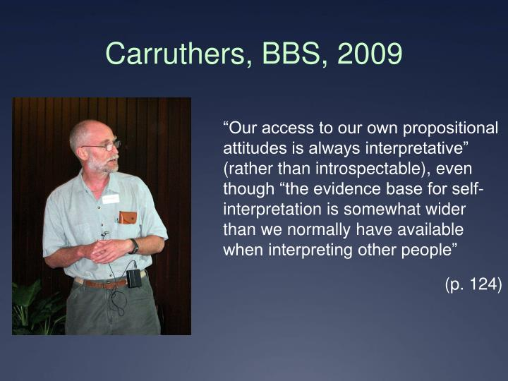 Carruthers, BBS, 2009