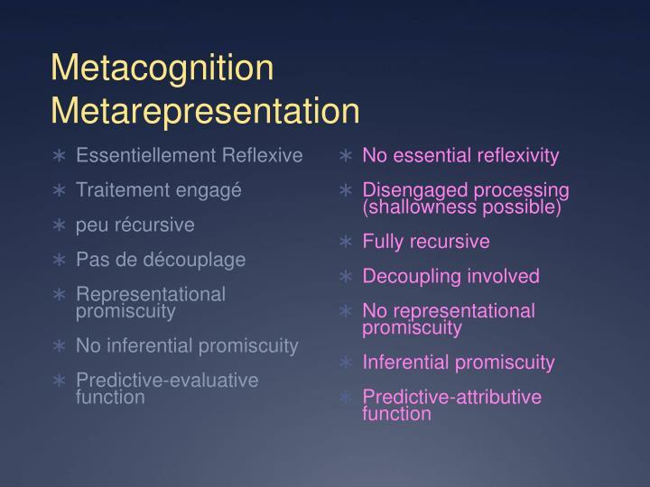 Metacognition     Metarepresentation