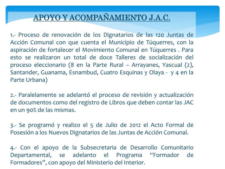 APOYO Y ACOMPAÑAMIENTO J.A.C.