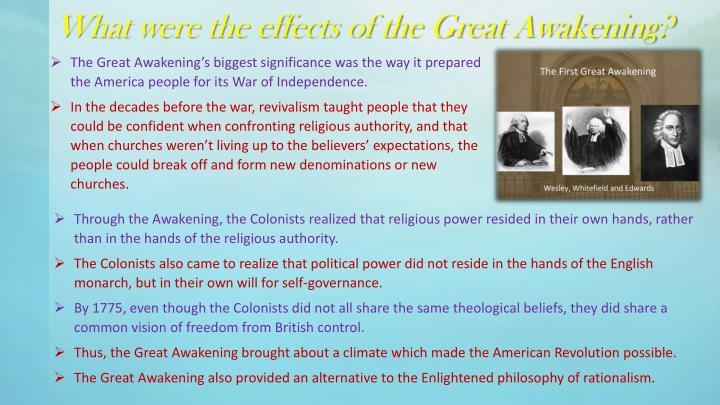 What were the effects of the Great Awakening?