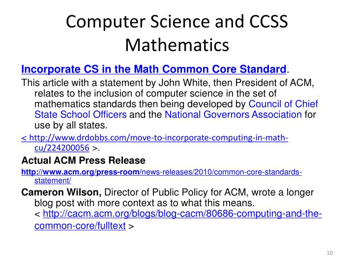 Computer Science and CCSS Mathematics