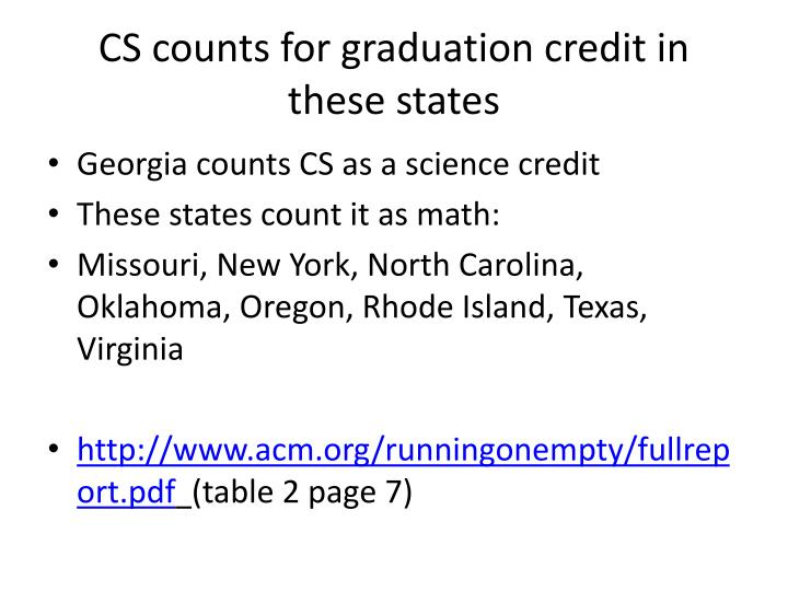 CS counts for graduation credit in these states