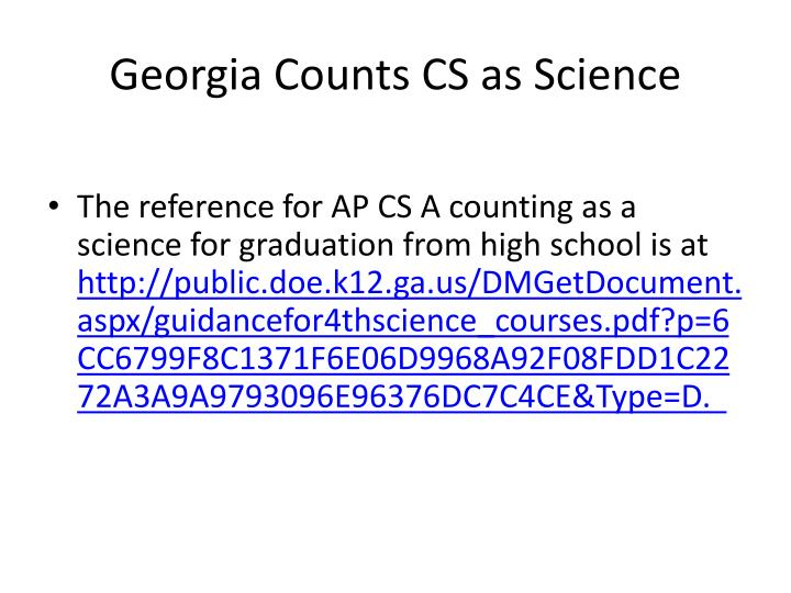 Georgia Counts CS as Science