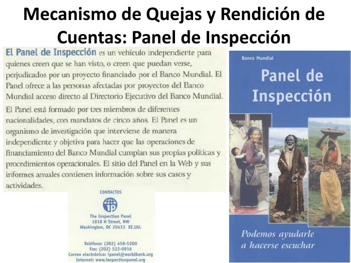 Mecanismo de Quejas y Rendición de Cuentas: Panel de Inspección