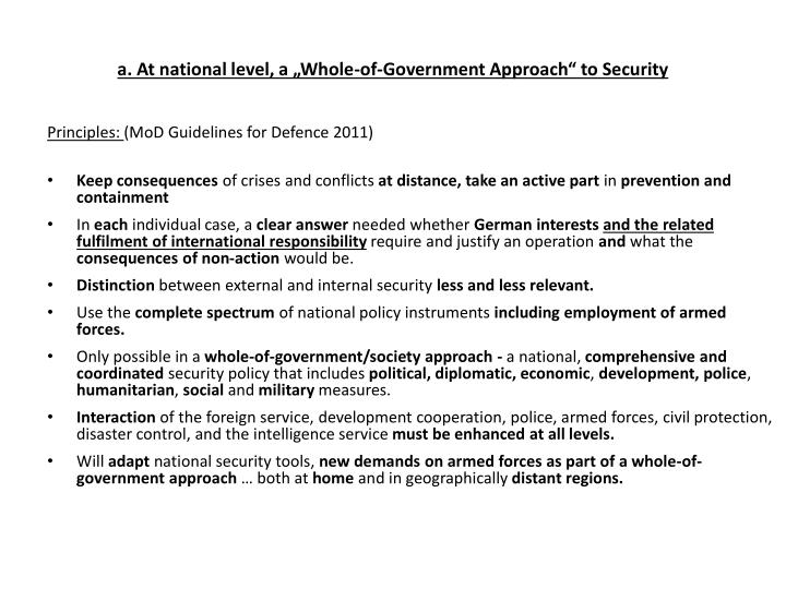 "a. At national level, a ""Whole-of-Government Approach"" to Security"