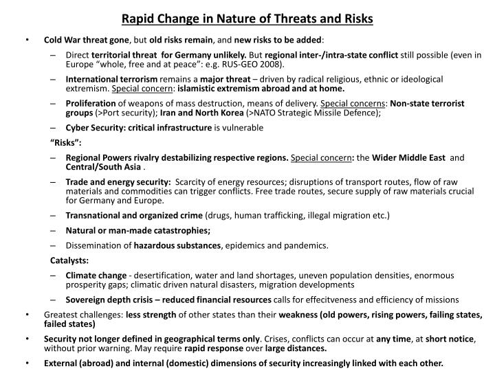 Rapid change in nature of threats and risks