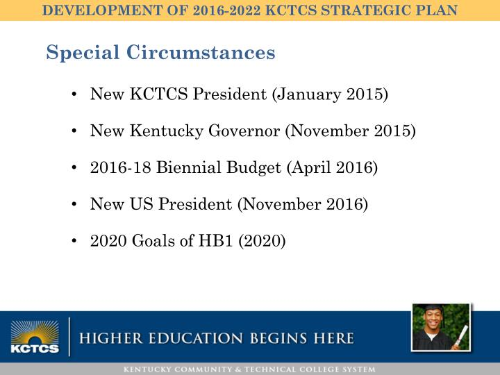 DEVELOPMENT OF 2016-2022 KCTCS STRATEGIC PLAN
