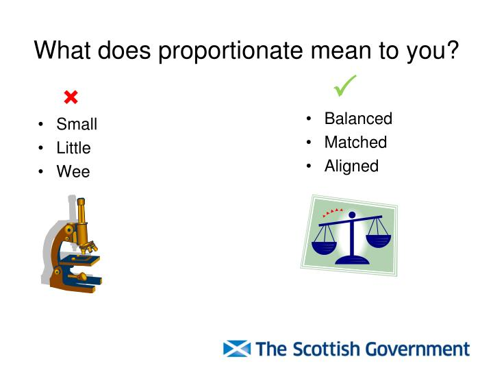 What does proportionate mean to you?
