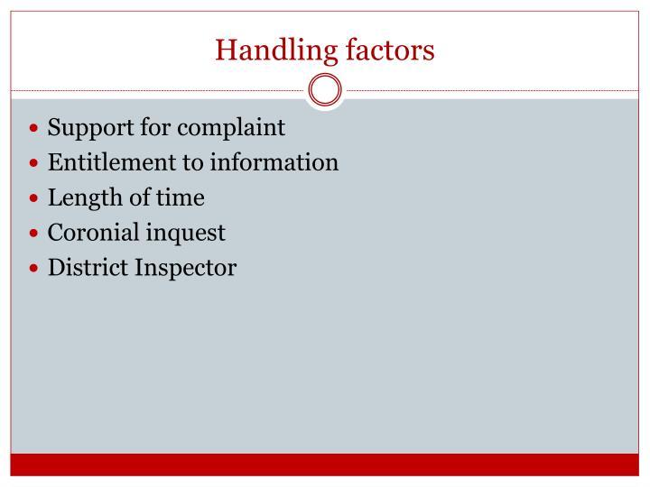 Handling factors