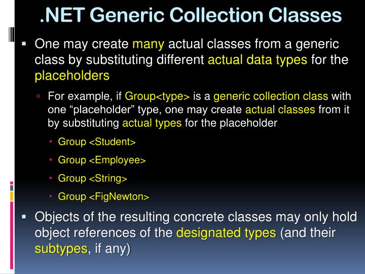 .NET Generic Collection Classes