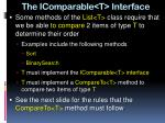 the icomparable t interface