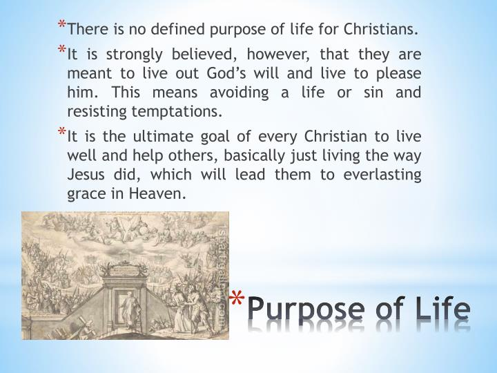 There is no defined purpose of life for Christians.