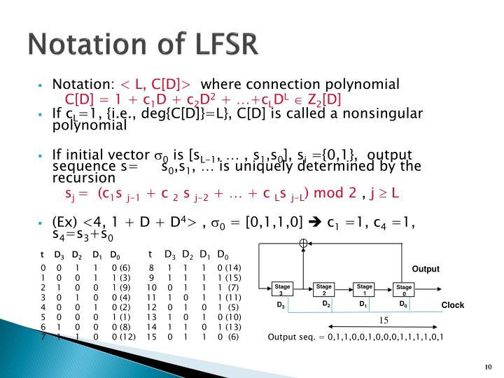 Notation of LFSR
