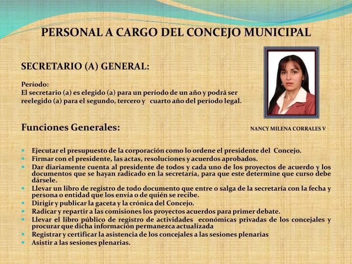 PERSONAL A CARGO DEL CONCEJO MUNICIPAL