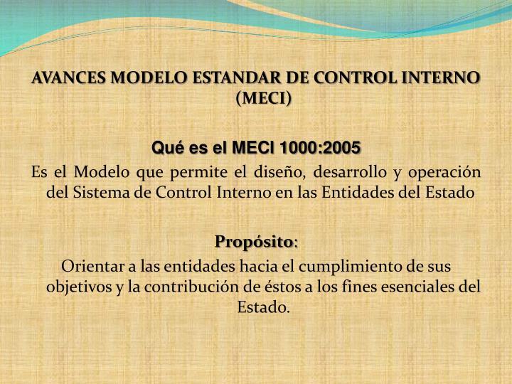 AVANCES MODELO ESTANDAR DE CONTROL INTERNO (MECI)