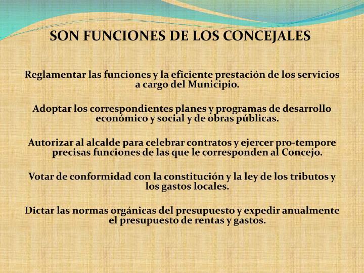SON FUNCIONES DE LOS CONCEJALES