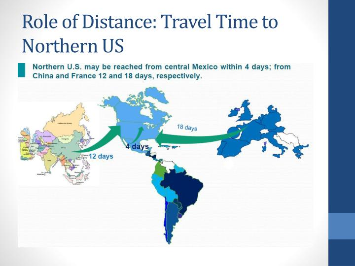 Role of Distance: Travel Time to Northern US