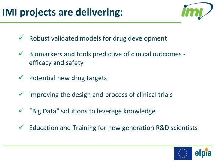 IMI projects are delivering: