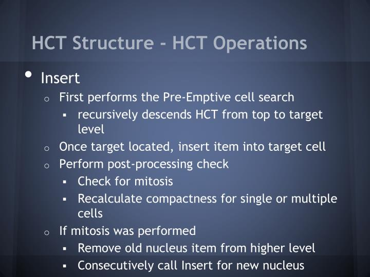 HCT Structure - HCT Operations