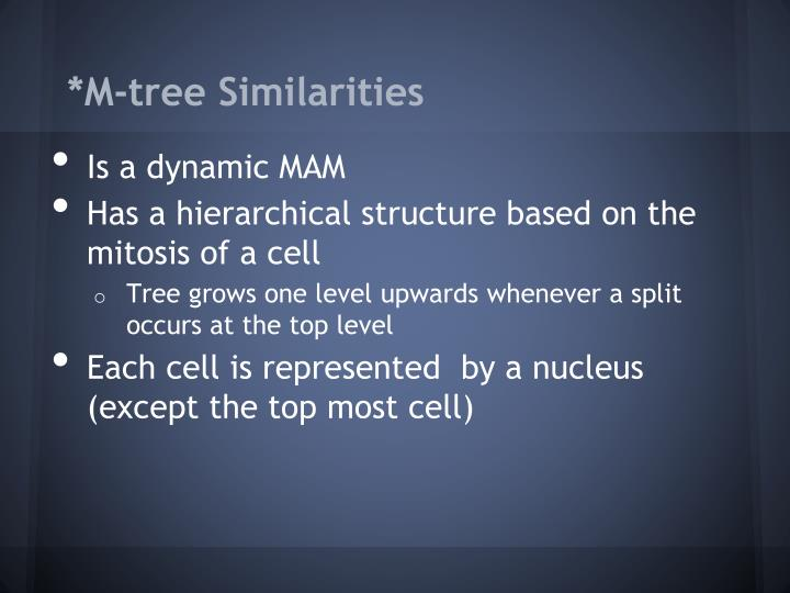 *M-tree Similarities