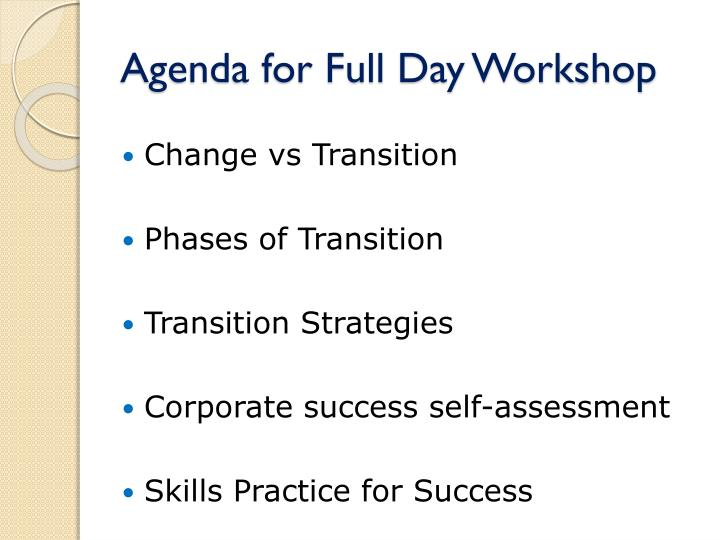Agenda for full day workshop