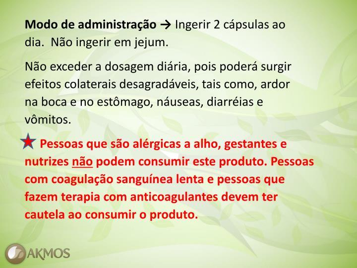 Modo de administração →