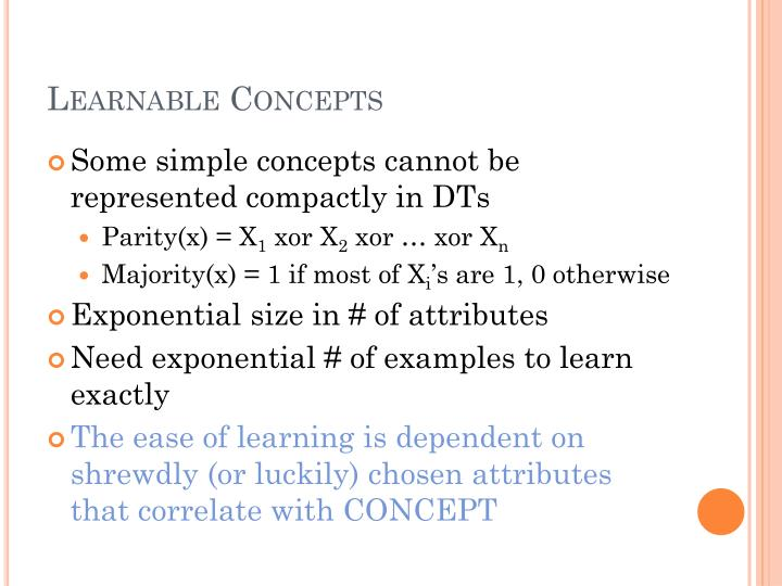 Learnable Concepts