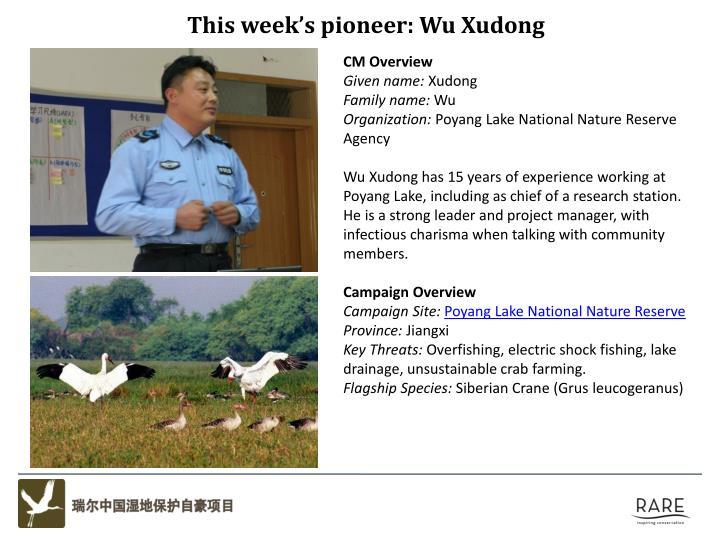 This week's pioneer: Wu Xudong